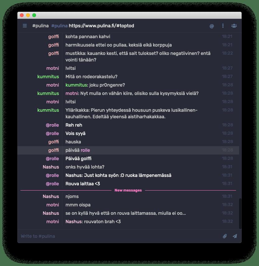 Kuvankaappaus The Lounge IRC-clientistä